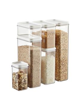 Set Of Narrow Stackable Canisters With White Lids by Container Store