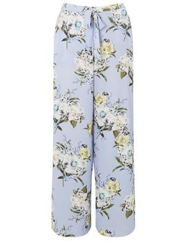 Blue Floral Print Palazzo Trousers by Dorothy Perkins