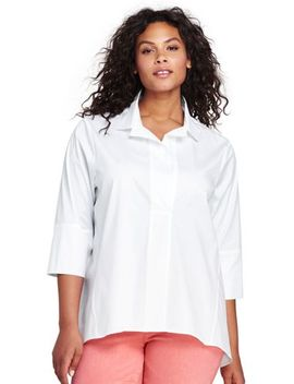 Women's Plus Size Poplin Popover Top by Lands' End