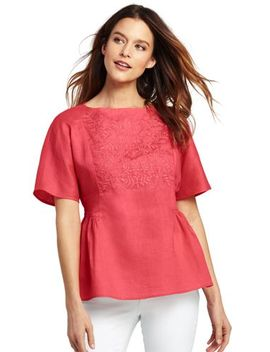 Women's Plus Size Embroidered Linen Top by Lands' End