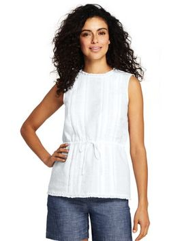 Women's Plus Size Sleeveless Mixed Media Linen Blouse by Lands' End
