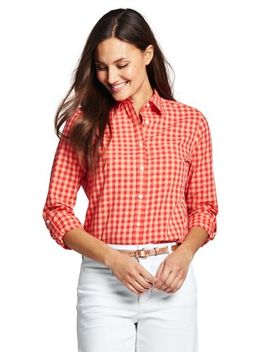 Women's Plus Size Cotton Linen Roll Sleeve Shirt by Lands' End