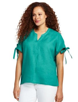 Women's Plus Size Crossover Linen Top by Lands' End