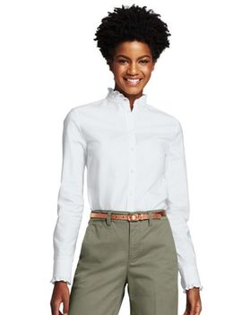 Women's Plus Size Ruffle Oxford Shirt by Lands' End