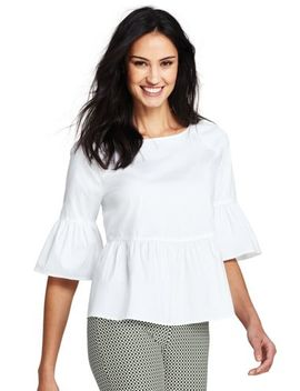 Women's Elbow Sleeve Peplum Top by Lands' End