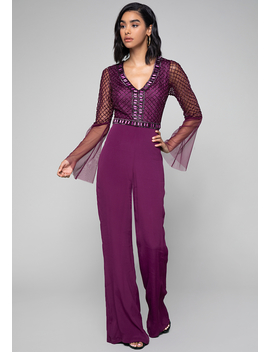 Beaded V Neck Jumpsuit by Bebe