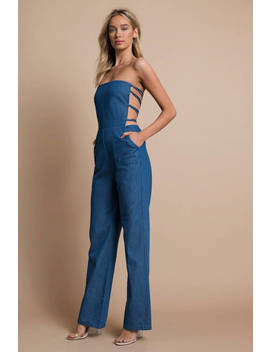 Love Is Not Over Medium Wash Chambray Jumpsuit by Tobi