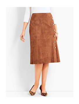 Suede Gold Button Skirt by Talbots