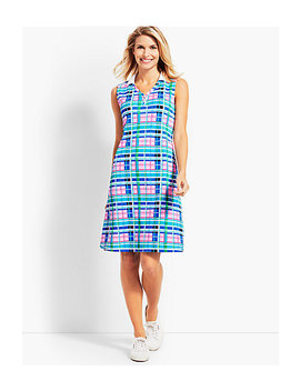 Vibrant Plaid V Neck Polo Dress by Talbots