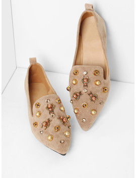 Faux Pearl Decorated Pointed Toe Flats by Romwe