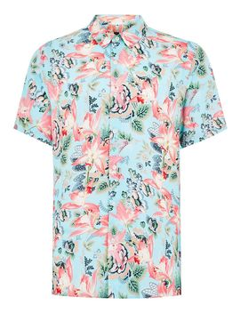 Blue Floral Tile Short Sleeve Shirt by Topman