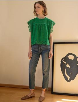 Green Lace Boxy Top by Pixie Market
