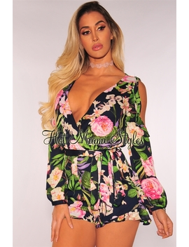 Navy Floral Ruffle Long Sleeves Belted Romper by Hot Miami Style