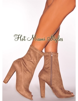 Nude Faux Suede High Heel Boots by Hot Miami Style