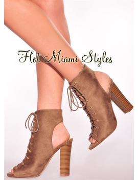 Taupe Faux Suede Lace Up Wooden High Heels by Hot Miami Style