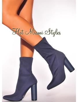 Navy Blue Elastic High Heel Boots by Hot Miami Style