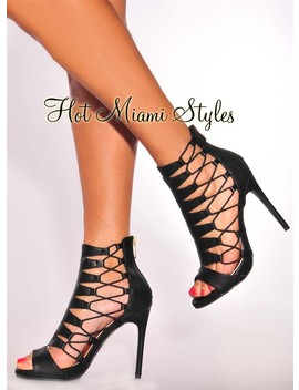 Black Faux Leather Lace Up Sides High Heel Booties by Hot Miami Style