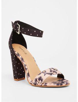 Pink & Navy Paisley Dot High Heel Sandal (Wide Width) by Torrid