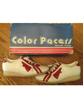 Vintage Pair Of Color Pacers Dallas Texas Cheerleader Shoes Red &Amp; White Size 7 M by Color Pacers Of Dallas