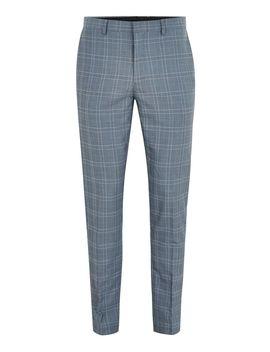 Blue Tonal Check Skinny Suit Pants by Topman