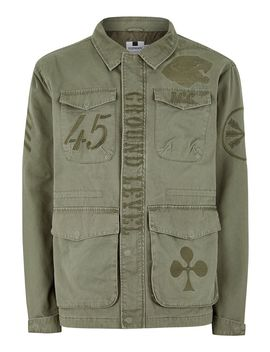 Khaki Embroidered Military Jacket by Topman