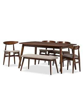 Baxton Studio Flora Wood 6 Piece Dining Set In Brown/Grey by Bed Bath And Beyond
