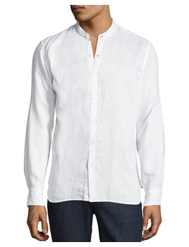Mandarin Collar Linen Button Front Shirt by Neiman Marcus