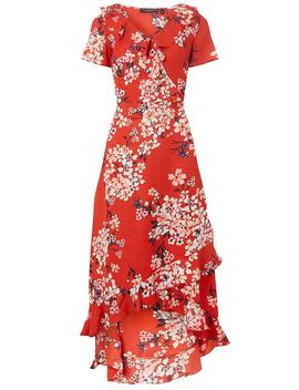 Coral Floral Print High Low Ruffle Maxi Dress by Dorothy Perkins