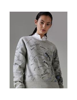 Doodle Print Cotton Blend Jersey Sweatshirt by Burberry