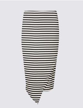 Striped Asymmetric Wrap Pencil Midi Skirt by Marks & Spencer