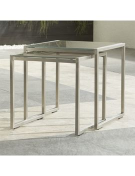 Dune Nesting Tables With Taupe Painted Glass Set Of Two by Crate&Barrel