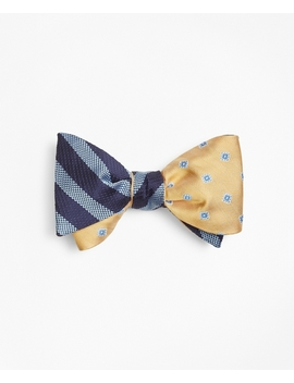 Ground Stripe With Herringbone Tossed Squares Reversible Bow Tie by Brooks Brothers