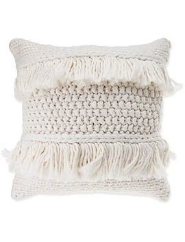 Anthology™ Henley Knit Fringe Square Throw Pillow In Ivory by Bed Bath And Beyond