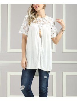 White Lace Hi Low Tunic   Women &Amp; Plus by Suzanne Betro