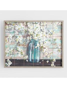 Mason Jar Flowers On Wood Framed Wall Art by World Market