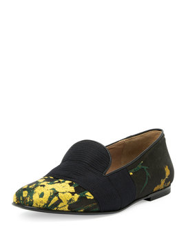 Embroidered Smoking Slipper, Yellow/Black by Dries Van Noten