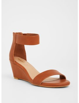 Cognac Faux Leather Midi Wedge Sandal (Wide Width) by Torrid