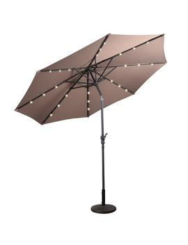 Costway 10ft Patio Solar Umbrella Led Patio Market Steel Tilt W/ Crank Outdoor (Tan) by Generic