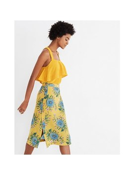 Silk Side Button Skirt In Painted Blooms by Madewell