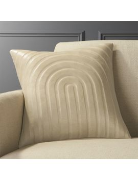 "18"" Channel Beige Leather Pillow by Crate&Barrel"