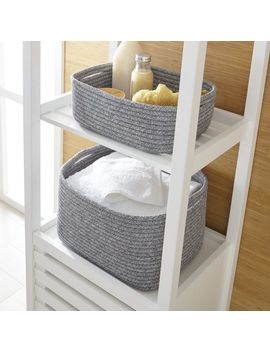 Lupe Grey Braided Totes by Crate&Barrel