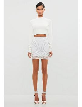 Peace + Love White Embellished Mini Skirt by Missguided