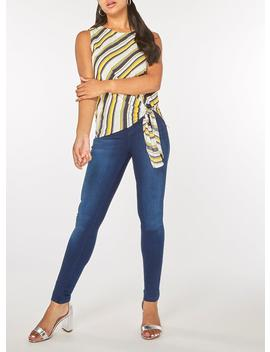 Ochre Striped Tie Side Sleeveless Top by Dorothy Perkins