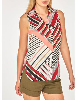 Multi Colour Striped Sleeveless Shirt by Dorothy Perkins
