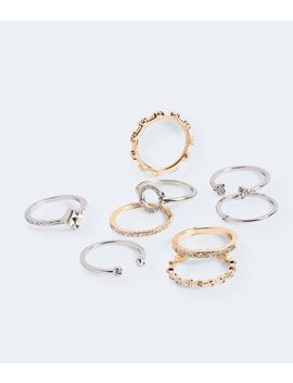 Multi Metal Rhinestone Ring 9 Pack by Aeropostale