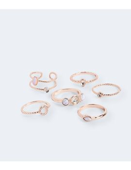 Marble, Rhinestone And Moonstone Ring 6 Pack by Aeropostale