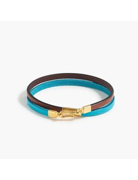 Caputo & Co.™ Colorblock Leather Double Wrap Bracelet by J.Crew