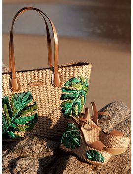 Malibu Palm Embroidered Tote, Fisher Palm Embroidered Wedge by Michael Michael Kors