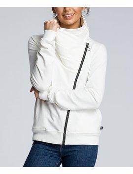 Ecru Asymmetrical Zip Funnel Collar Sweatshirt   Women by Be Wear