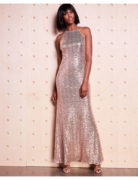 Sequined Halter Neck Evening Gown by Badgley Mischka